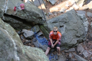 Drew belaying me on Rappel Crack.