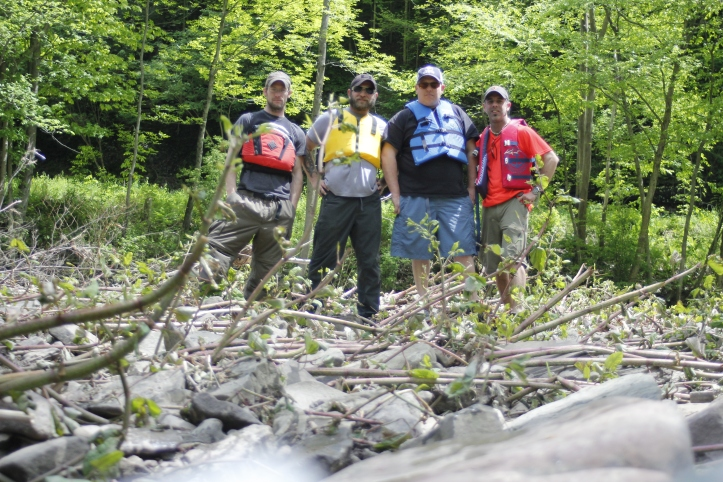 From left, Seth, Josh, Tommy and I just before setting off into the rapids. Last photo of my beloved Canon.