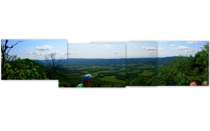 Panoramic view of looking southeast into the  Amberson Valley with the turnpike tunnel through Kittatinny and Blue mountains.