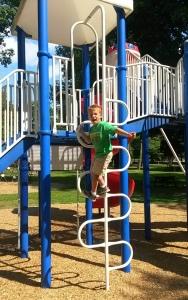 Chipmunk goofing around on the playground castle.