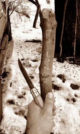 Carving a message on a hiking stick left behind at the OLP trailhead. An outstretched hand to a friend I never met.