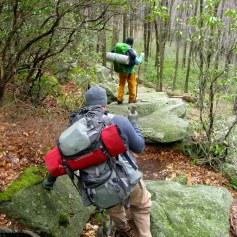 Descending a boulder field.