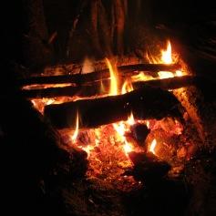 Relaxing by firelight.