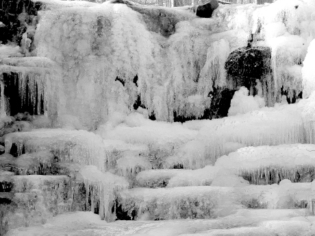 Close-up of the falls in black and white.