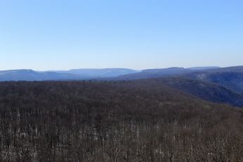Looking south from High Knob. At center right, you can just see Smith's Knob summit rising over the ridge line. To the left is the LT's highest plateau, a small hill at 2,140 feet.