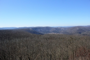 Looking southwest from High Knob. Smith's Knob peaks over the left. At center is the Loyalsock valley with about a dozen knobs visible in the fore and background.