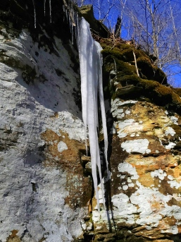 Giant cliffside icicles on day 2.